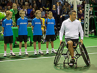 Rotterdam, The Netherlands. 15.02.2014. Stephane Houdet(FRA) at the ABN AMRO World Wheelchair tennis Tournament<br /> Photo:Tennisimages/Henk Koster