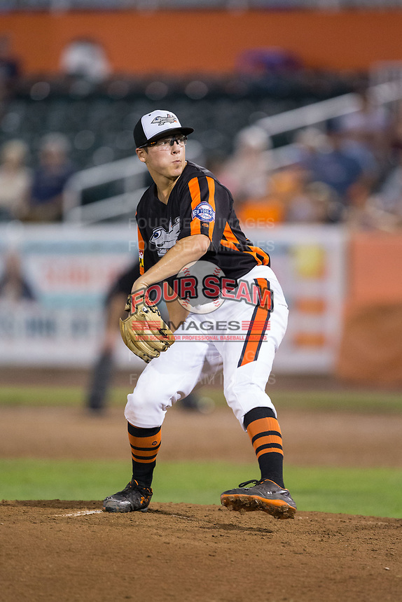 Aberdeen IronBirds relief pitcher James Teague (38) in action against the Hudson Valley Renegades at Leidos Field at Ripken Stadium on July 27, 2017 in Aberdeen, Maryland.  The IronBirds defeated the Renegades 3-0 in game two of a double-header.  (Brian Westerholt/Four Seam Images)