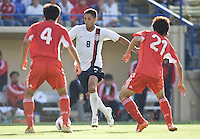 Clint Dempsey dribbles between Chinese defenders Zhang Yaokun (l) and Zhao Xuri (r). The USA defeated China, 4-1, in an international friendly at Spartan Stadium, San Jose, CA on June 2, 2007.