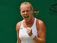 London, England, 30 june, 2016, Tennis, Wimbledon, Kiki Bertens (NED) celebrates match point during her match against Mona Barthel (GER)<br /> Photo: Henk Koster/tennisimages.com
