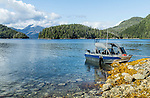 Fishing boat docked at an island in Nootka Sounds, British Colombia, Canada.