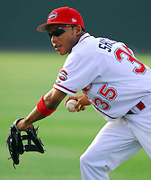 4 June 2007: Matt Sheely of the Greenville Drive, Class A South Atlantic League affiliate of the Boston Red Sox, in a game against the Kannapolis Intimidators at West End Field in Greenville, S.C. Photo by:  Tom Priddy/Four Seam Images