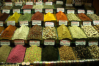 Spices for sale at the Egyptian Spice Bazaar, Eminonu, Istanbul, Turkey
