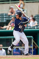 San Antonio Missions second baseman Taylor Lindsey (27) at bat during the Texas League baseball game against the Midland RockHounds on June 28, 2015 at Nelson Wolff Stadium in San Antonio, Texas. The Missions defeated the RockHounds 7-2. (Andrew Woolley/Four Seam Images)