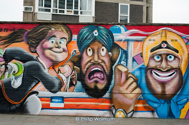 Mural by Andy Seize on Charles Square Estate, Shoreditch, London, a run-down commercial district  also known as Silicon Roundabout, which is undergoing gentrification as it becomes a centre for web-based companies and IT start-ups.