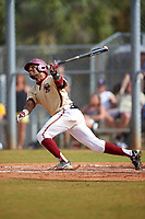 Boston College Eagles left fielder Gabriel Hernandez (23) at bat during a game against the Central Michigan Chippewas on March 8, 2016 at North Charlotte Regional Park in Port Charlotte, Florida.  Boston College defeated Central Michigan 9-3.  (Mike Janes/Four Seam Images)