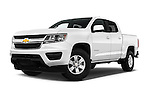 Stock pictures of low aggressive front three quarter view of 2016 Chevrolet Colorado Work-Truck-Crew 4 Door Pick-up Low Aggressive