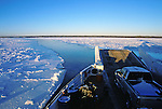 Merv Hardy Ferry near Fort Providence makes its way through winter ice.