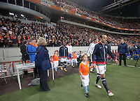 Landon Donovan takes the field. .The USA men fell to the Netherlands 2-1 at Amsterdam ArenA, Wednesday, March 3, 2010.