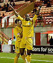 ::  HIBERNIAN'S AKPO SODJE CELEBRATES AFTER HE SCORES THE FIRST  ::