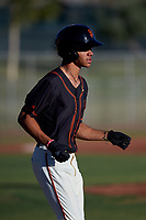 AZL Giants Black Grant McCray (40) jogs to first base after drawing a walk during an Arizona League game against the AZL Angels at the Giants Baseball Complex on June 21, 2019 in Scottsdale, Arizona. AZL Angels defeated AZL Giants Black 6-3. (Zachary Lucy/Four Seam Images)