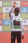 Egan Bernal (COL) Ineos Grenadiers retains the young riders White Jersey at the end of Stage 18 of La Vuelta d'Espana 2021, running 162.6km from Salas to Alto del Gamoniteiru, Spain. 2nd September 2021.    <br /> Picture: Luis Angel Gomez/Photogomezsport   Cyclefile<br /> <br /> All photos usage must carry mandatory copyright credit (© Cyclefile   Luis Angel Gomez/Photogomezsport)
