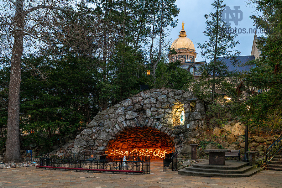 """March 31, 2020; Grotto candles form the number """"2020,"""" a tribute to the graduating class in reaction to the postponing of the on-campus Commencement ceremony due to the COVID19 outbreak. (Photo by Matt Cashore/University of Notre Dame)"""