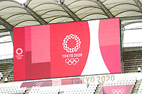 KASHIMA, JAPAN - AUGUST 2: Tokyo 2020 logo shown on score board before a game between Canada and USWNT at Kashima Soccer Stadium on August 2, 2021 in Kashima, Japan.
