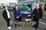 The Kerry Cancer Support Group receive their new car from Kerry Motor Works on Monday, l to r: Breda Dyland (Kerry Cancer Support Group), Kieran Griffin (Kerry Motor Works) and Maurice Laide (Volunteer Driver)