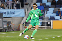 SAINT PAUL, MN - MAY 12: Tyler Miller #1 of Minnesota United FC kicks the ball during a game between Vancouver Whitecaps and Minnesota United FC at Allianz Field on May 12, 2021 in Saint Paul, Minnesota.