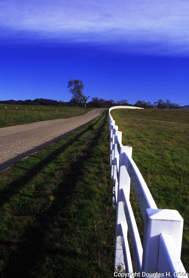 Fence line along Huassna Road in farming area near Arroyo Grande, California Central Coast region.