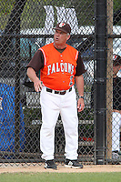 Bowling Green Falcons head coach Danny Schmitz #2 argues a call from the dugout during a game against the Bradley Braves at Lake Myrtle Park on March 9, 2012 in Auburndale, Florida.  Bradley defeated Bowling Green 12-4.  (Mike Janes/Four Seam Images)