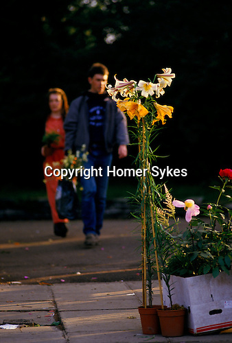 Chelsea Flower Show, London Uk. 1980s Last day, flowers bought on pavement owner calling a taxi ( out of shot )