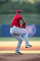 AZL Angels starting pitcher Yoel De Leon (71) delivers a pitch during an Arizona League game against the AZL Athletics at Tempe Diablo Stadium on June 26, 2018 in Tempe, Arizona. The AZL Athletics defeated the AZL Angels 7-1. (Zachary Lucy/Four Seam Images)