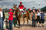 ARCADIA, CA  MARCH 24:#2 Itsinthepost, ridden by Tyler Baze, in the winners circle after winning the San  Luis Rey Stakes (Grade ll) on March 24, 2018 at Santa Anita Park, in Arcadia, CA (Photo by Casey Phillips/ Eclipse Sportswire/ Getty Images)