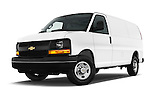Stock pictures of low aggressive front three quarter view of 2016 Chevrolet Express-Cargo 2500-Work-Van-HD 4 Door Cargo Van Low Aggressive