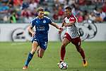 Leicester City FC defender Callum Elder (L) competes for the ball with West Bromwich Albion midfielder Jake Livermore (R) during the Premier League Asia Trophy match between Leicester City FC and West Bromwich Albion at Hong Kong Stadium on 19 July 2017, in Hong Kong, China. Photo by Weixiang Lim / Power Sport Images