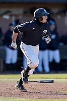 Julian Rip (34) of the University of South Carolina Upstate Spartans bats in a game against the University of Toledo Rockets on Saturday, February 20, 2021, at Cleveland S. Harley Park in Spartanburg, South Carolina. Upstate won, 5-1. (Tom Priddy/Four Seam Images)