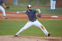 Concord Mountain Lions relief pitcher Adam Linkous (24) in action against the Wingate Bulldogs at Ron Christopher Stadium on February 1, 2020 in Wingate, North Carolina. The Bulldogs defeated the Mountain Lions 8-0 in game one of a doubleheader. (Brian Westerholt/Four Seam Images)