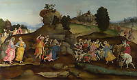 Full title: Moses brings forth Water out of the Rock<br /> Artist: Follower of Filippino Lippi<br /> Date made: about 1500<br /> The National Gallery, London