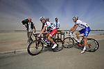 Lotto-Belisol Team rider Jonas Van Genechten (BEL) and FDJ-BigMat team rider David Boucher (FRA) sign on before the start of Stage 4 of the 2012 Tour of Qatar from Al Thakhira to Madinat Al Shamal, Qatar. 8th February 2012.<br /> (Photo Eoin Clarke/Newsfile)