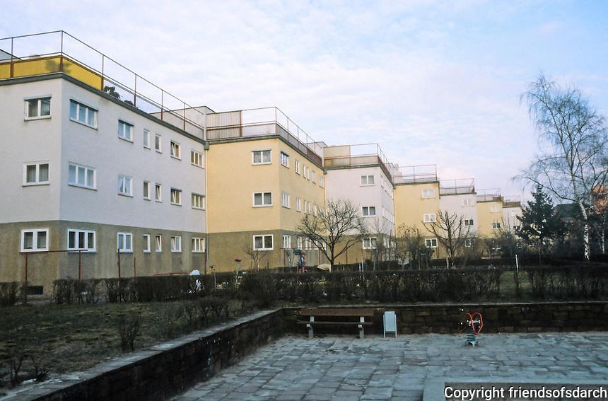 Frankfurt: Zig-zag Houses, north side, 1926-27. Playground area. Ernst May.