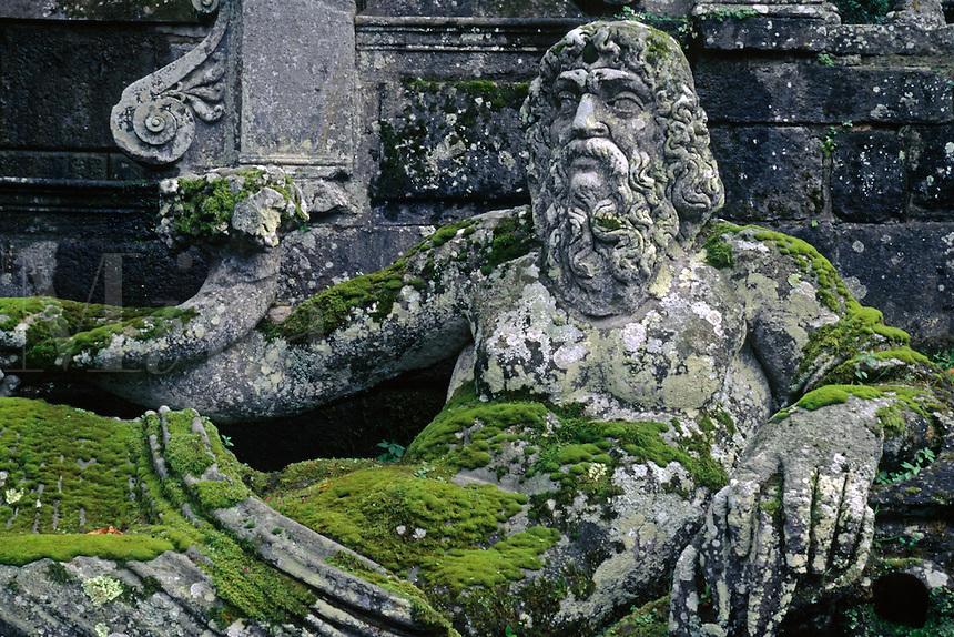 Stone carving of the Giant ARNO (Florence) at VILLA LANTE (Italian Renaissance Garden, 1566), VITERBO - TUSCANY, ITALY