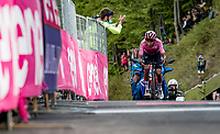 Maglia Rosa / Pink Jersey / GC Leader Egan Bernal (COL/Ineos Grenadiers) finishes 3rd up the Alpe di Mera (1560m) an dretains teh leaders jersey <br /> <br /> 104th Giro d'Italia 2021 (2.UWT)<br /> Stage 19 from Abbiategrasso to Alpe di Mera (Valsesia)(176km)<br /> <br /> ©kramon