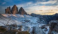 Sunset at Tre Cime, Dolomites