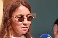 Salwa Smaoui, the wife of Tunisia's jailed presidential candidate Nabil Karoui, shows her ink-stained finger after casting her ballot for presidential election at a polling station in Tunis on September 15, 2019. - Rarely has the outcome of an election been so uncertain in Tunisia, the cradle and partial success story of the Arab Spring, as some seven million voters head to the polls today to choose from a crowded field.<br /> <br /> PHOTO : Agence Quebec Presse -  JDIDI_WASSIM