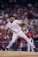 Edwar Ramirez of the New York Yankees during a 2007 MLB season game against the Los Angeles Angels at Angel Stadium in Anaheim, California. (Larry Goren/Four Seam Images)