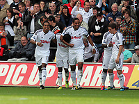 Pictured: (L-R) Scott Sinclair, Nathan Dyer, Ashley Williams, Leroy Lita and Joe Allen of Swansea City. Saturday 17 September 2011<br /> Re: Premiership football Swansea City FC v West Bromwich Albion at the Liberty Stadium, south Wales.