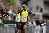 EUGENE, OR--Xavier Carter celebrates his win in the men's 200m at the Steve Prefontaine Classic, Hayward Field, Eugene, OR. SUNDAY, JUNE 10, 2007. PHOTO © 2007 DON FERIA