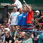 Enthusiastic supporters cheer on Jelena Jankovic (SRB) as she defeats Sorana Cirstea (ROU) 6-1, 6-2 at  Roland Garros being played at Stade Roland Garros in Paris, France on May 31, 2014