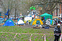 General view of the protesters camp during a protest against the building of the HS2 railway line at Euston Square Gardens on 27th January 2021
