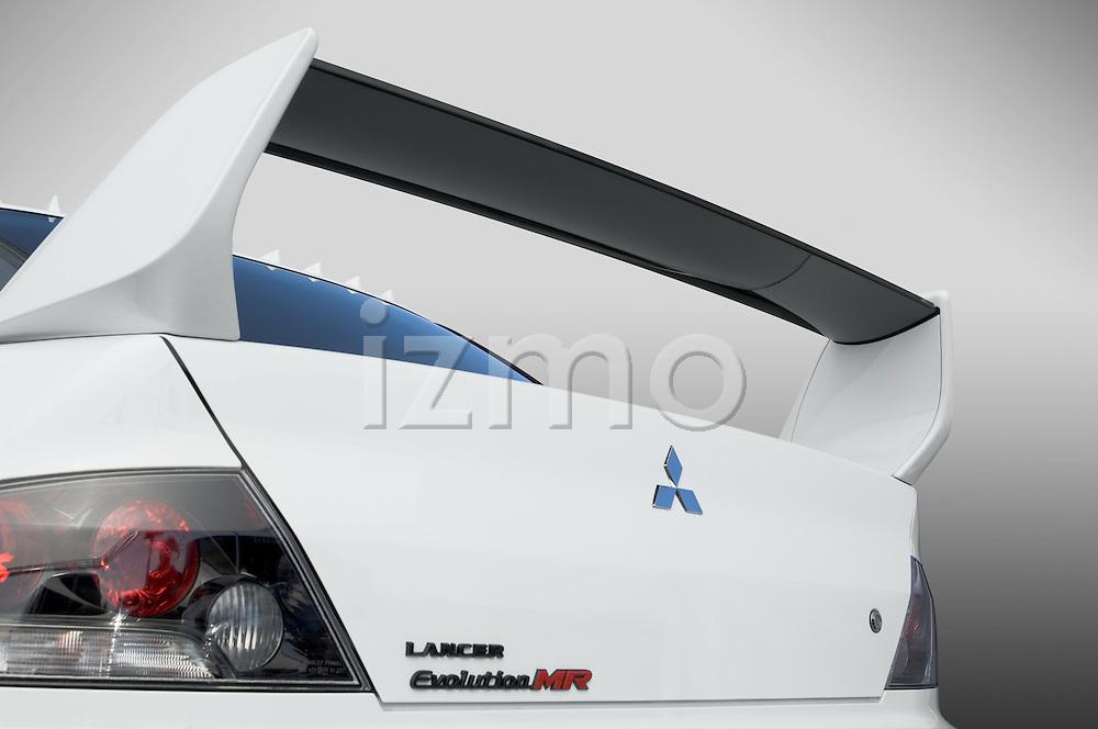 Rear spoiler detail of a 2006 Mitsubishi Lancer Evolution MR