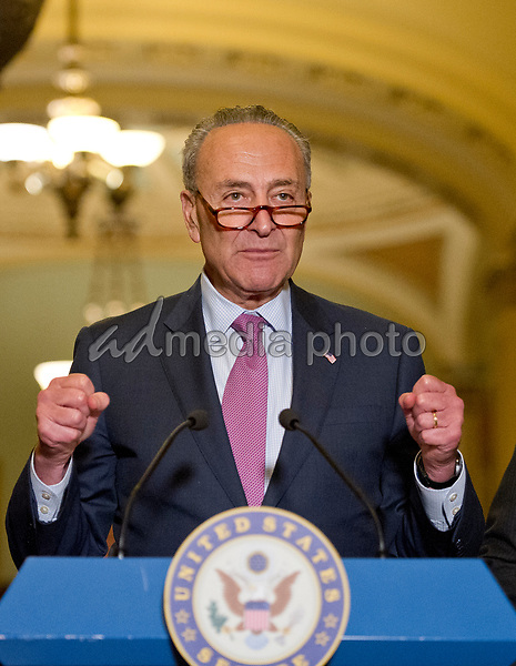 United States Senate Minority Leader Chuck Schumer (Democrat of New York) speaks to reporters following the Democratic Party luncheon in the United States Capitol in Washington, DC on Tuesday, June 27, 2017. Photo Credit: Ron Sachs/CNP/AdMedia