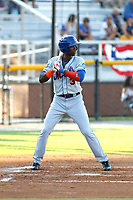 Kingsport Mets outfielder Ranfy Adon (3) at bat during a game against the Burlington Royals at Burlington Athletic Complex on July 28, 2018 in Burlington, North Carolina. Burlington defeated Kingsport 4-3. (Robert Gurganus/Four Seam Images)
