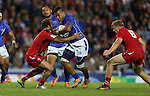Glasgow 2014 Commonwealth Games<br /> Alatasi Tupou crashes into Will Harries.<br /> Wales v Samoa<br /> Ibrox Stadium<br /> <br /> 26.07.14<br /> ©Steve Pope-SPORTINGWALES