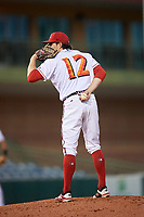 Florida Fire Frogs relief pitcher Sean McLaughlin (12) looks in for the sign during a game against the Palm Beach Cardinals on May 1, 2018 at Osceola County Stadium in Kissimmee, Florida.  Florida defeated Palm Beach 3-2.  (Mike Janes/Four Seam Images)