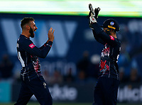 Jack Leaning (L) of Kent is congratulated by Ollie Robertson after taking the wicket of John Simpson during Kent Spitfires vs Middlesex, Vitality Blast T20 Cricket at The Spitfire Ground on 11th June 2021