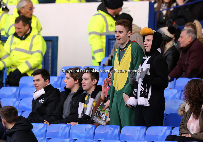 Pictured: Swansea supporters. Sunday 16 February 2014<br /> Re: FA Cup, Everton v Swansea City FC at Goodison Park, Liverpool, UK.
