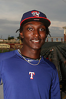 Akeem Bostick of the AZL Rangers before a game against the AZL Royals at Surprise Stadium on July 15, 2013 in Surprise, Arizona. AZL Rangers defeated the AZL Royals, 3-2. (Larry Goren/Four Seam Images)
