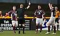 Stenny's Sean Dickson, Stewart Kean and Bryan Hodge claim for a penalty for hand ball.